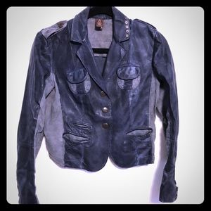Dondup leather mixed fabric made in Italy jacket.